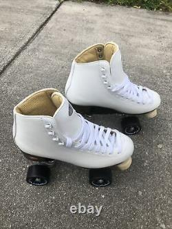 Vintage Womans White Riedell Roller Skates White Size 7 Ships Free Same Day