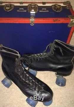 VintageBlackLeatherRIEDELLRollerSkates&CaseSure-GripSuperX6LMENS(9)