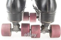Vtg RIEDELL Women's Roller Skates Black Lace Up 4 Wheel Leather Boots Size 8