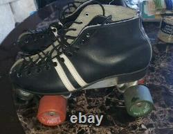 Vtg Riedell Black Leather Roller Skates Boots Size 8.5 Invader Plate Zinger