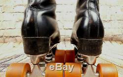 Vtg Riedell Black Leather Roller Skates Sz 8.5 Labeda Mark V Rollers Alcoa Base
