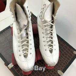 Vtg Riedell Red Wing MN Leather Roller Skates White High Lace Up Derby Sz 5 Case