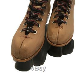 Vtg Riedell Red Wing Roller Skates Size Men 9 Womens 10.5 Tan Leather Sure Grip