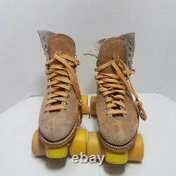 Vtg Riedell Tan Suede Roller Skates Chicago Plates Womens Sz 8 Goodyear Tires