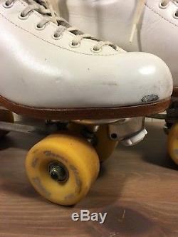Vtg Riedell White Roller Skates Hyper Glide Dance Wheels Snyder Plates Wmns 9