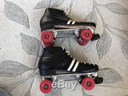 Vtg Roller Skates Riedell Sure Grip Cyclone Red Wing 10 Leather Platinum