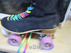 Women Riedell Suede Black Skates sz 7 heel to toe 9 1/2 in. No More Rentals