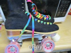 Women Riedell Suede Black Skates sz 9, heel to toe 10 3/16 in. No More Rentals