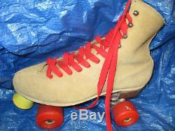 Women Riedell Suede sz 7 or Men size 6 heel to toe 9 7/8 in. Krytpo Wheels