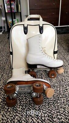 Womens RIEDELL WHITE LEATHER Vintage 7 1/2 ROLLER SKATES Classic Sure Grip 7.5