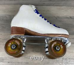 Womens Riedell 275 White Leather Roller Skates Sure Grip Plates Size 5.5